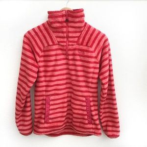 The North Face Tops - The North Face Quarter Zip Striped Pullover Pink S
